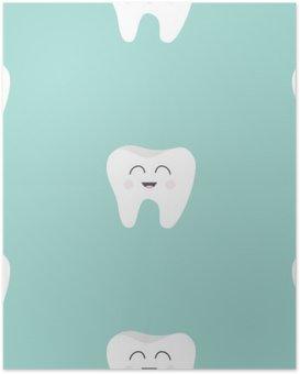 Póster Sin fisuras patrón de la salud del diente. historieta divertida linda del carácter sonriendo. la higiene dental oral. cuidado de los niños los dientes. Textura bebé. Diseño plano. fondo azul.