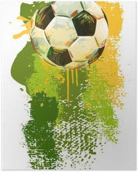 Poster Soccer ball Bannière .__ Tous les éléments sont dans des couches séparées et regroupées. __