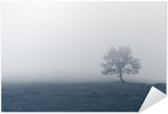 Poster solitary tree with fog