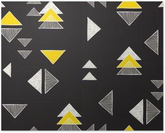 Poster Sömlös handritade trianglar mönster.