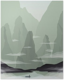 Southeast Asia landscape vector illustration with rocks, cliffs and sea. China or Vietnam tourism promotion. Poster