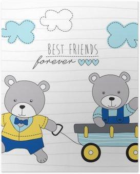 Poster Spelen teddyberen vector illustratie