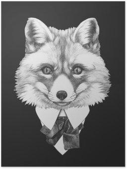 Poster Stående av Fox i kostym. Handritad illustration.