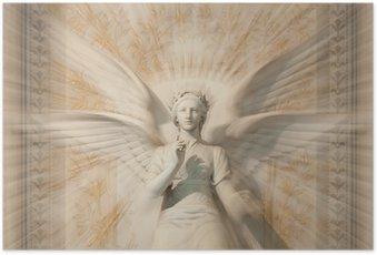 Poster Standbeeld van de vrouw engel.