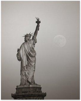Poster Statue de la liberté et de la lune