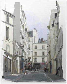 Poster Straat in de buurt van Montmartre in Parijs