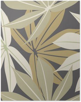 Stylish seamless pattern with tropical leaves Poster