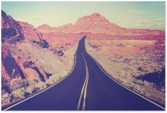 Poster Tonique route du désert incurvé Vintage, concept de Voyage, États-Unis