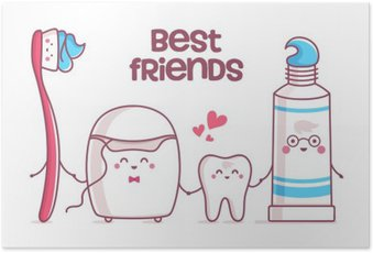 Tooth, toothpaste, dental floss, toothbrush Poster