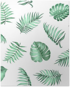 Topical palm leaves on seamless pattern for fabric texture. Vector illustration. Poster