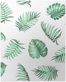 Poster Topical palmbladeren op naadloze patroon voor stof textuur. Vector illustratie.