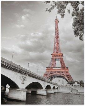 Poster Tour Eiffel monochrome colorisation sélective