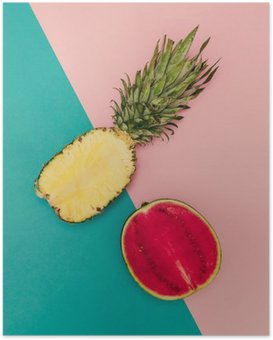 Poster Tropical Mix. Ananas en watermeloen. minimalistische stijl