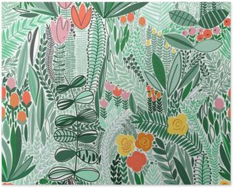 Tropical seamless floral pattern Poster