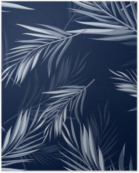 Poster Tropische naadloze zwart-wit blauwe indigo camouflage achtergrond met bladeren en bloemen
