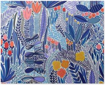 Poster Tropiska sömlösa blommönster