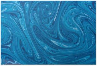 Poster Turquoise aquarelle fond de marbre