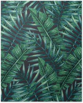 Poster Vattenfärg tropisk palmblad seamless. Vektor illustration.