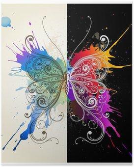 Poster Vector decoratieve vlinder