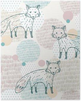 Poster Vector dessinée motif géométrique transparente avec le renard