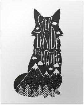Póster Vector dibujado a mano ilustración de las letras. Paso dentro de la naturaleza. cartel de la tipografía con el zorro, montañas, bosque de pinos y las nubes.