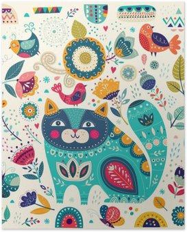 Poster Vector illustration colorée avec chat belles, les papillons, les oiseaux et les fleurs