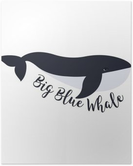 Poster Vector illustration de baleine. Symbole de conception