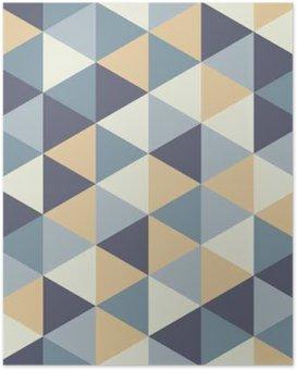 Poster Vector moderne seamless géométrie coloré triangle, couleur abstrait géométrique, oreiller imprimé multicolore, texture rétro, design de mode hipster