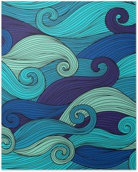 Poster Vector naadloze patroon met abstracte golven