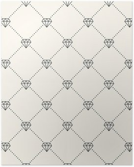 Poster Vector naadloze retro patroon, met diamanten.
