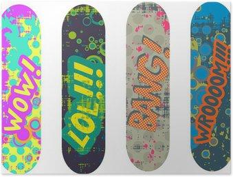 Poster Vector skateboard ontwerp pack met cartoon-stijl effecten