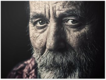 Very old homeless senior man portrait Poster