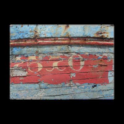 Vieille peinture sur la coque d 39 un bateau de p che poster pixers we live to change - Peinture coque bateau ...
