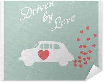 Vintage car driven by love romantic postcard design for Valentine card.