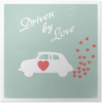 Vintage car driven by love romantic postcard design for Valentine card. Poster