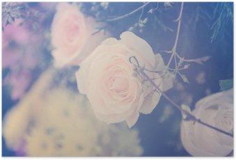 Poster Vintage fleur rose bouquet fond doux