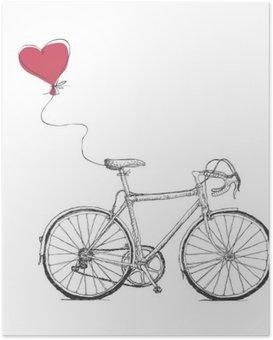 Poster Vintage Valentines Illustration avec vélos et coeur Baloon