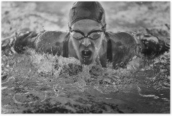 Poster Vlinderslag zwemkampioen