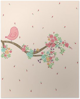 Poster Vogel op bloementak