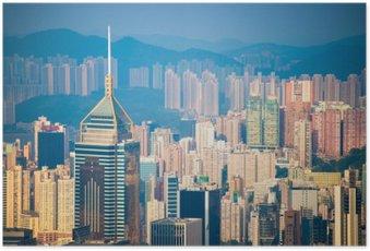 Poster Vue Gratte-ciel de la Peak Tower, monument de Hong Kong