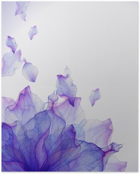 Watercolor card with Purple flower petal Poster