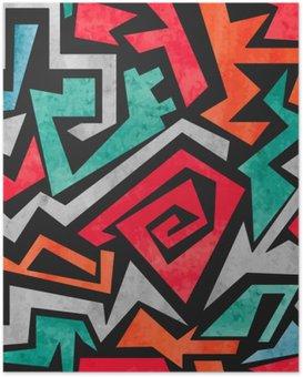 Poster Watercolor graffiti naadloos patroon. Vector kleurrijke geometrische abstracte achtergrond in de kleuren rood, oranje en blauwe kleuren.