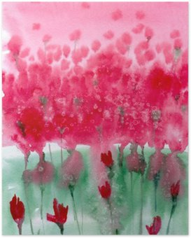Watercolor painting. Background meadow with red flowers. Poster