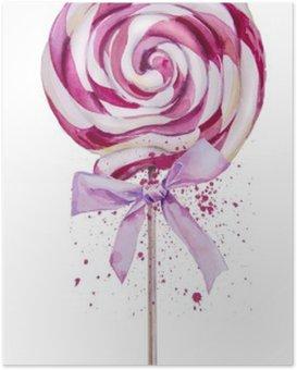 watercolor sweet Lollipop Poster