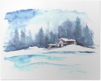 Poster Watercolor winter patroon. Landschap van het land. De foto toont een huis, sparren, dennen, bos, sneeuw en drijft.