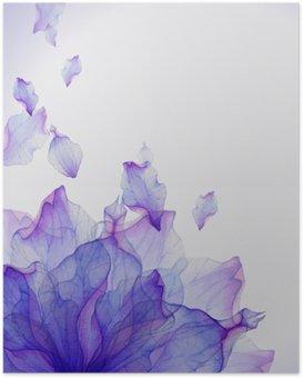Poster Waterverfkaart met Purper bloemblaadje