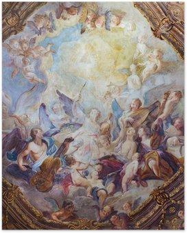 Poster Wenen - Barok engelenkoren fresco van Michaelerkirche