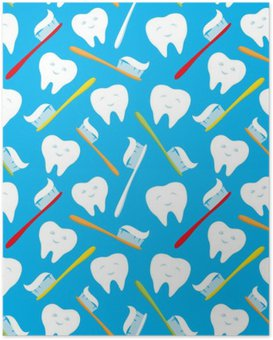 White teeth and colorful toothbrushes. Poster