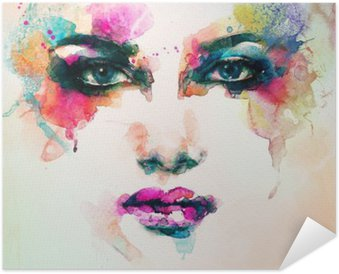 Poster woman portrait .abstract watercolor .fashion background