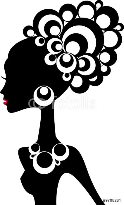 Poster woman silhouette with black hair and jewels - Destinations